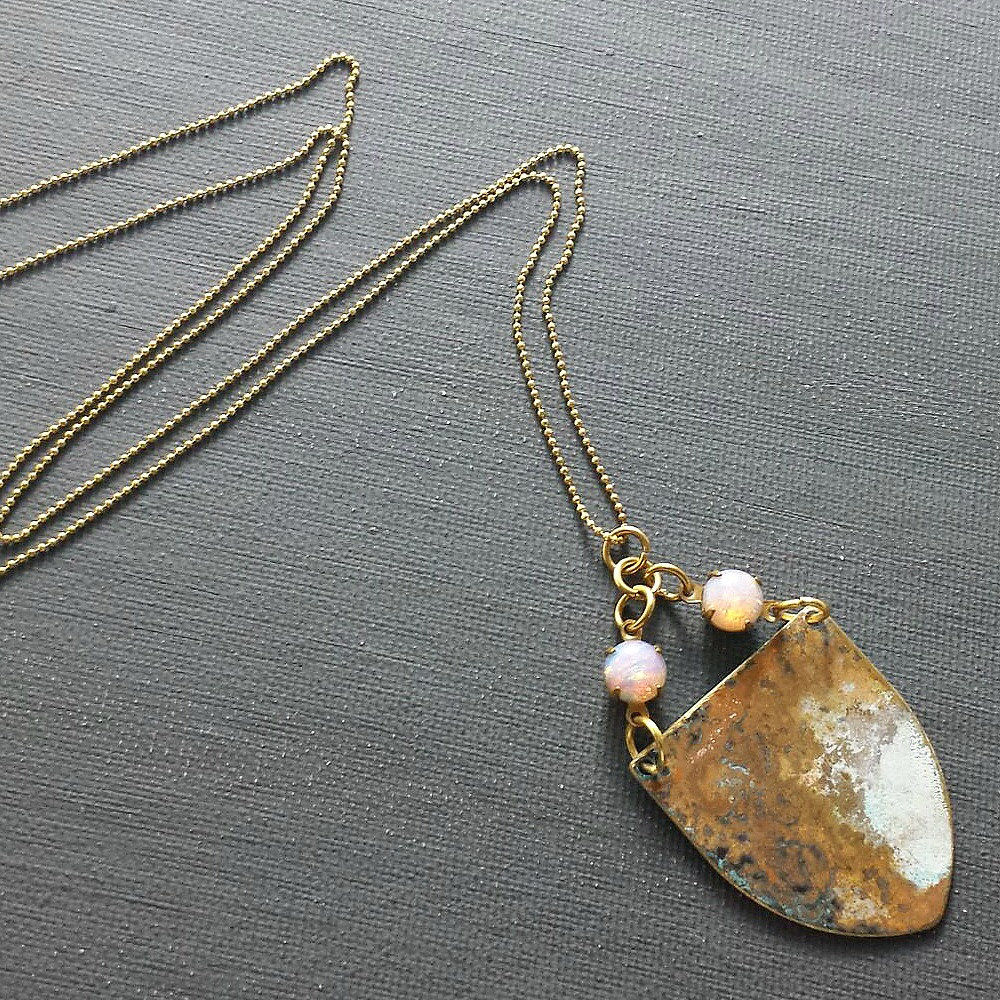 Brass Patina Shield with Vintage Glass Opal Stones - product images  of