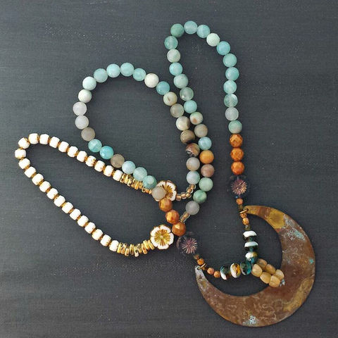 Boho,Beaded,Necklace,with,Brass,Crescent,Moon,Patina,Pendant,Charm,brass jewelry, patina jewelry, patina necklace, boho jewelry, verdigris