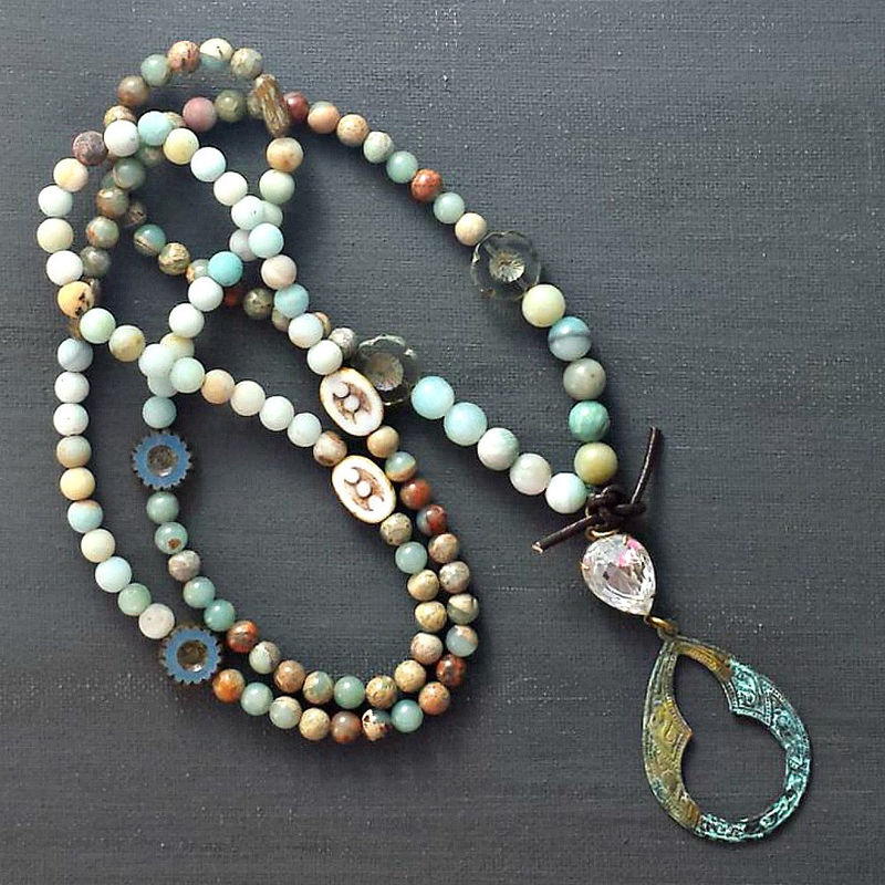 Beaded Patina Necklace with Ornate Pendant - product image