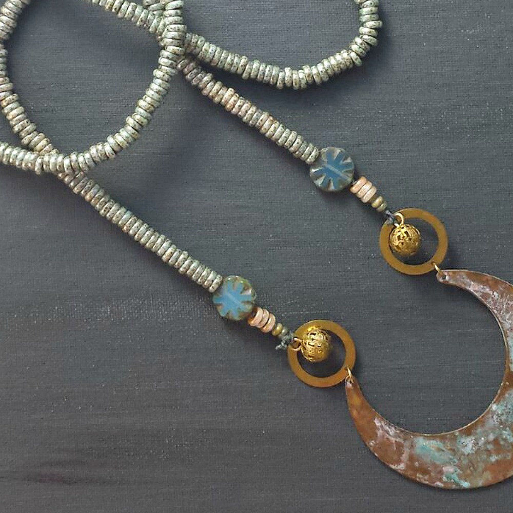 Beaded Patina Necklace with Ornate Pendant - product images  of