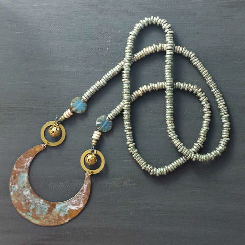 Beaded,Patina,Necklace,with,Ornate,Pendant,brass jewerly, patina jewelry, patina necklace, boho jewelry, verdigris