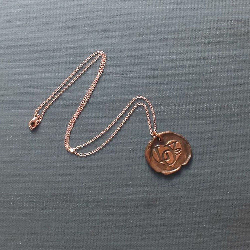 Love Heart Wax Seal Charm Necklace - product images  of