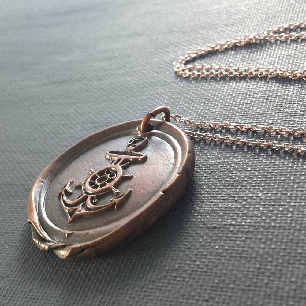 Large Copper Anchor Pendant Charm Necklace - product images  of