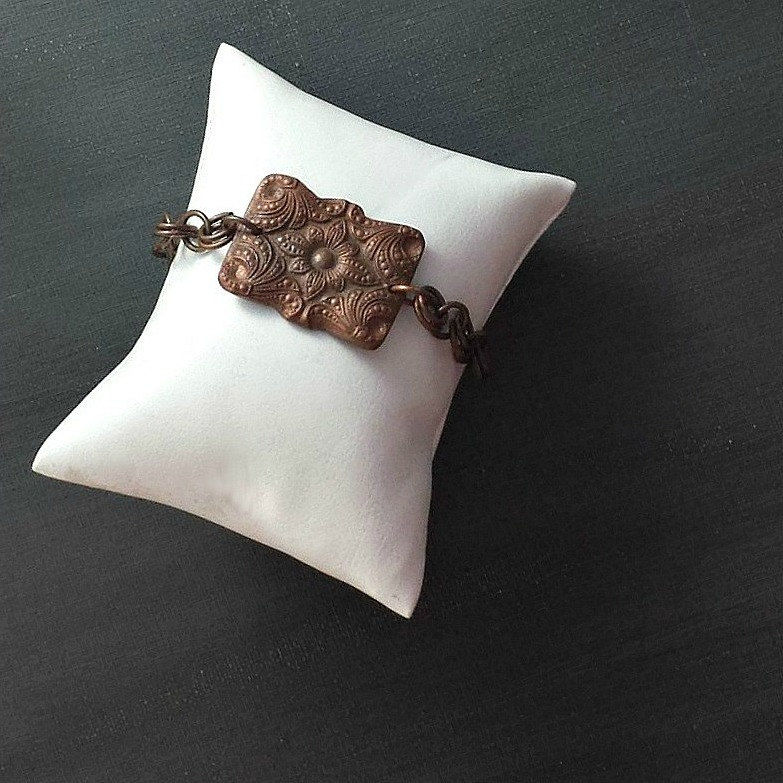 Rectangular Ornate Copper Pillow Charm Bracelet - product image