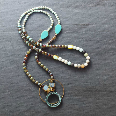 Multi,Bead,Necklace,with,Hammered,Ring,and,Patina,Wreath,brass jewerly, patina jewelry, patina necklace, boho jewelry, verdigris