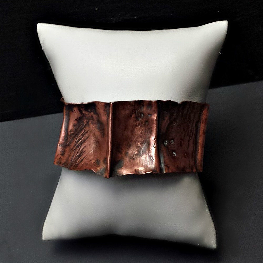 Wide Rustic Copper Folded Cuff Bracelet - product images  of