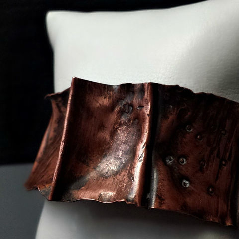 Wide,Rustic,Copper,Folded,Cuff,Bracelet,patina, brass cuff, bangle, stacking bracelets, patina jewelry