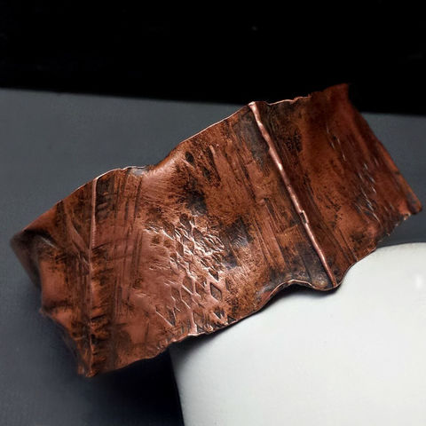 Wavy,Rustic,Copper,Folded,Cuff,Bracelet,patina, brass cuff, bangle, stacking bracelets, patina jewelry