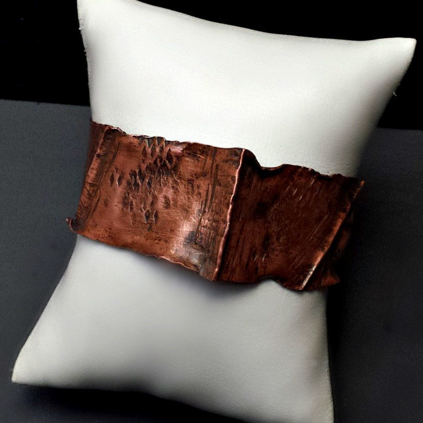 Wavy Rustic Copper Folded Cuff Bracelet - product images  of