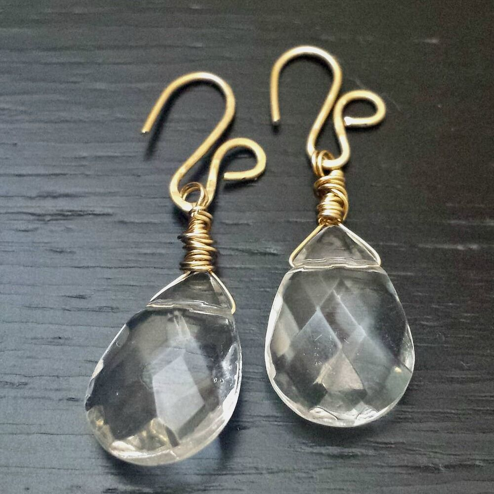 Wire Wrapped Fancy Raw Brass with Faceted Glass Teardrop Stones - product images  of