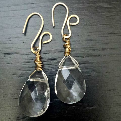 Wire,Wrapped,Fancy,Raw,Brass,with,Faceted,Glass,Teardrop,Stones,simple earrings, brass earrings, fancy ear wires, glass bead, pear shape, tear drop earrings