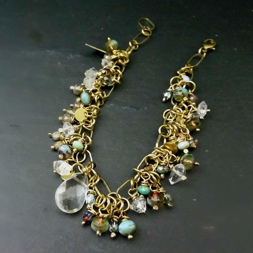Charm Bracelet with Wire Wrapped Herkimer Diamonds and Glass Beads - product images  of