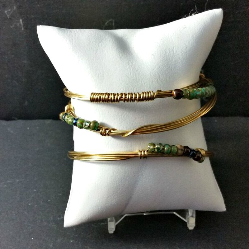 Three Wire Wrapped Brass Wire Bracelets with Blue Green Beads - product images  of