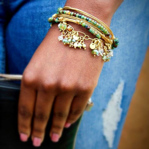 Three,Wire,Wrapped,Brass,Bracelets,with,Blue,Green,Beads,patina, brass cuff, bangle, stacking bracelets, patina jewelry