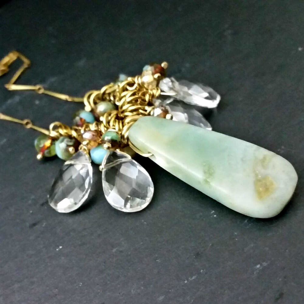 Amazonite Stone with Czech Glass Beads Wire Wrapped Pendant Necklace - product images  of