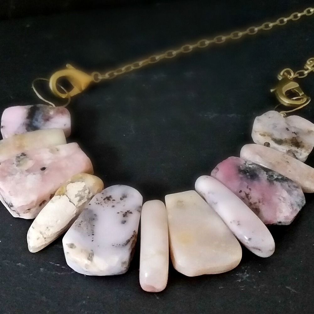 Pink Opal Gemstone Bib Style Necklace on Brass - product images  of