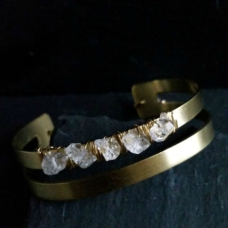 Brass Wire Wrapped Herkimer Diamond Cuff Bracelet - product image