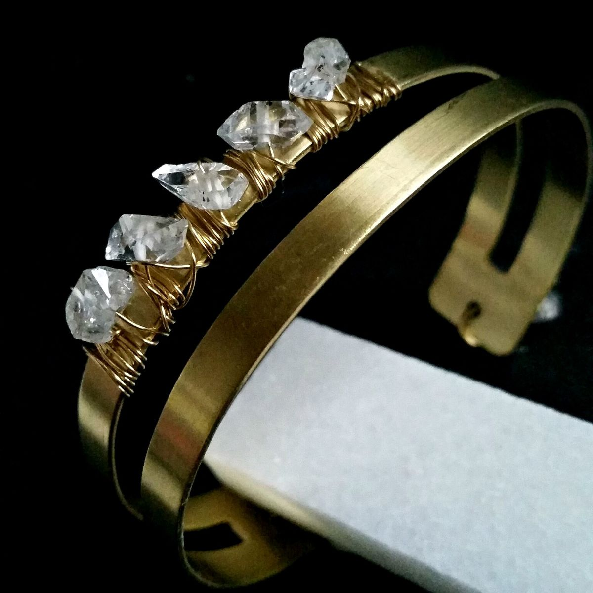 Brass Wire Wrapped Herkimer Diamond Cuff Bracelet - product images  of