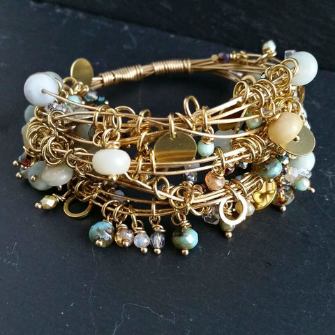 Wire,Wrapped,Brass,Bracelet,with,Herkimer,Diamonds,,Agate,Gemstones,and,Czech,Glass,Beads,patina, brass cuff, bangle, stacking bracelets, patina jewelry
