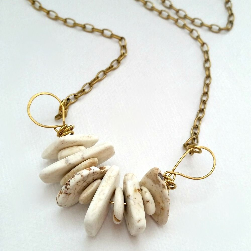 Magnesite Bead Necklace on Brass Wire Wrapped Pendant  - product images  of