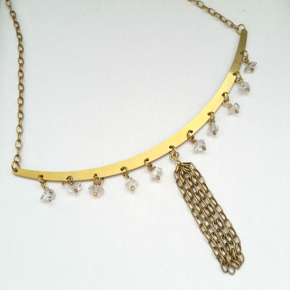 Herkimer Diamond Brass Bib Necklace on Link Chain  - product images  of