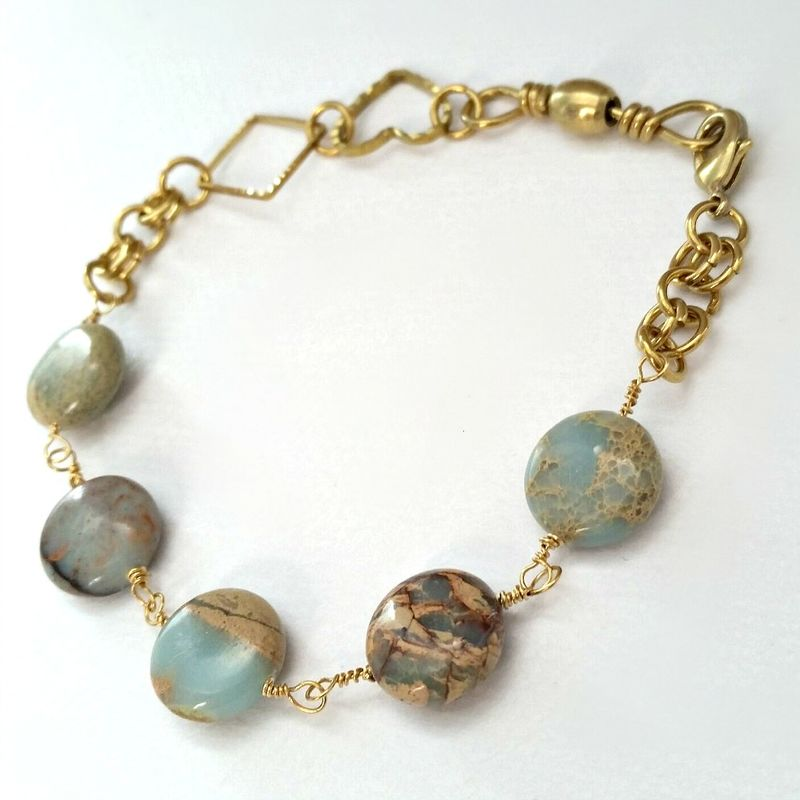 Jasper Gemstone Wire Wrapped Link Bracelet with Heart and Diamond Shaped Charms - product image