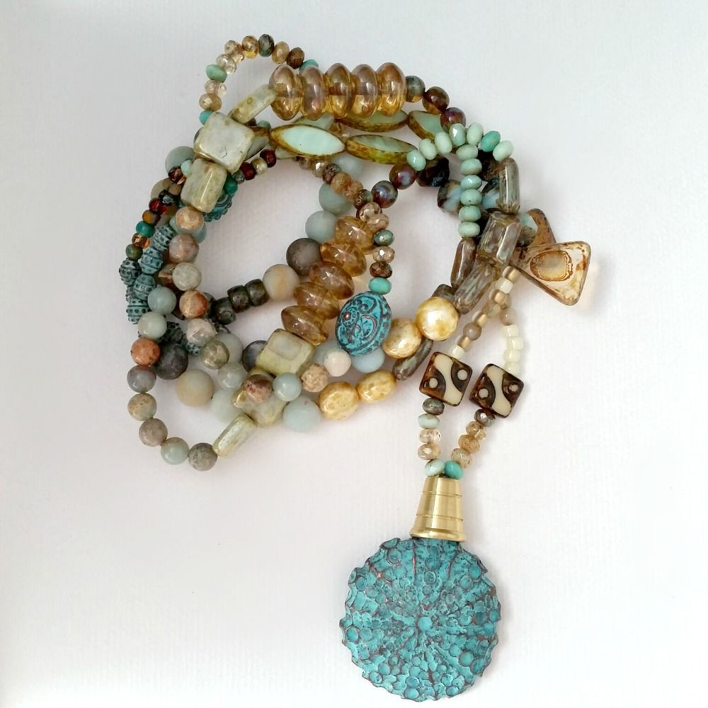 Festive and Bold Beaded Necklace with Blue Green Verdigris Sea Urchin Pendant - product images  of