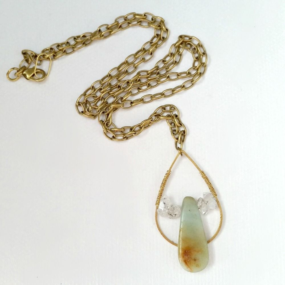Herkimer Diamonds and Amazonite Gemstone Brass Pendant Necklace - product images  of