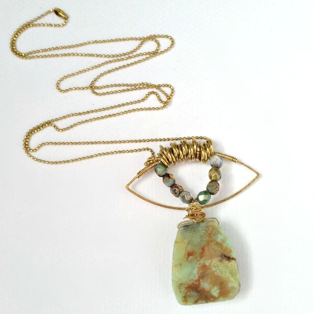 Australian Jade Gemstone with Czech Glass Beads on Brass Ball Chain Necklace - product images  of
