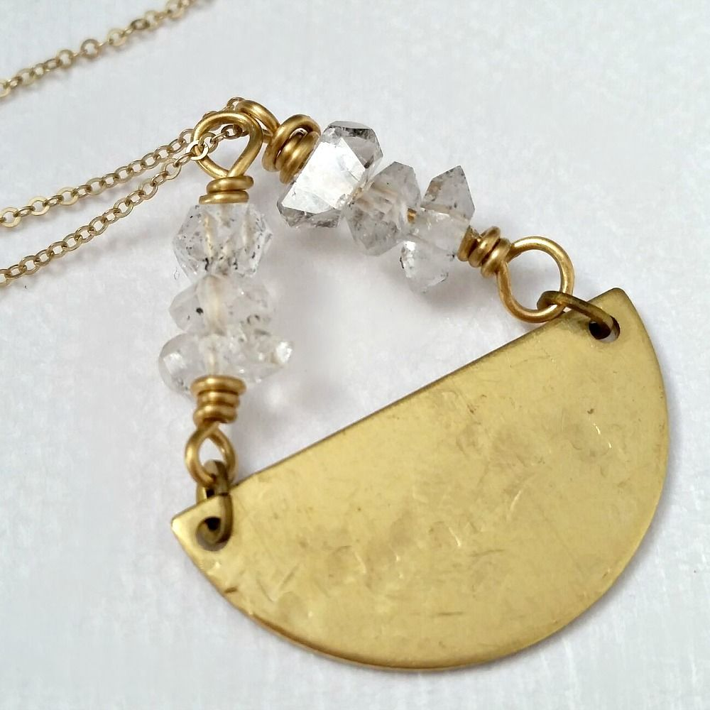 Herkimer Diamond with Hammer Textured Brass Semi Circle Necklace  - product images  of