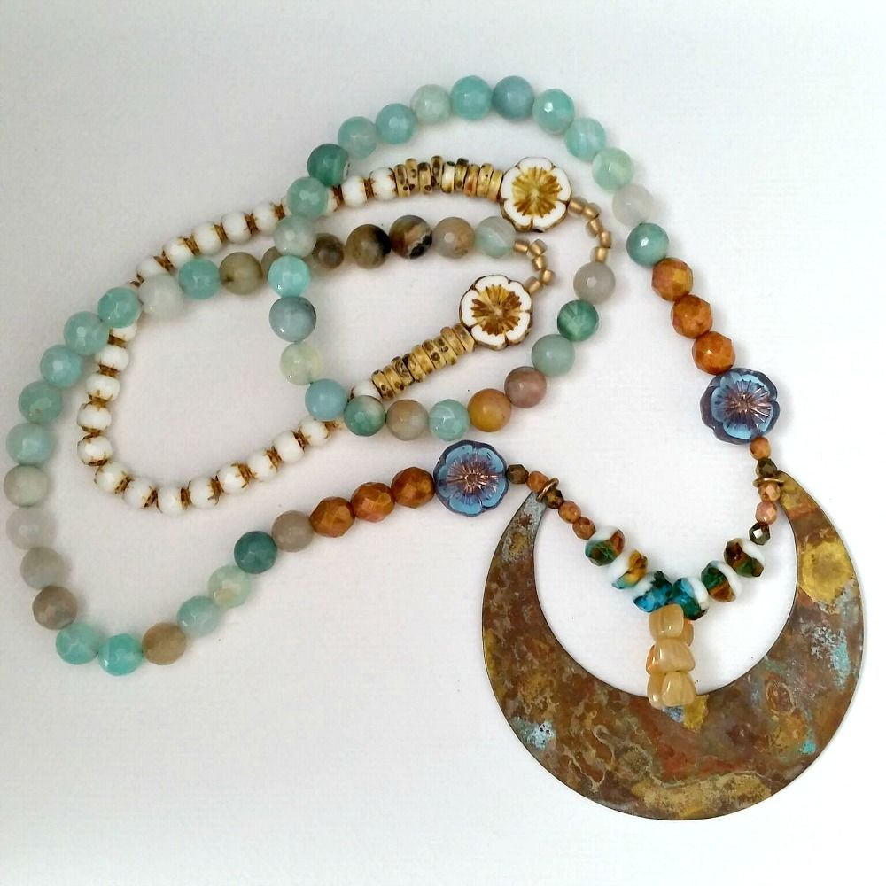 Boho Beaded Necklace with Brass Crescent Moon with Patina Pendant Charm - product images  of