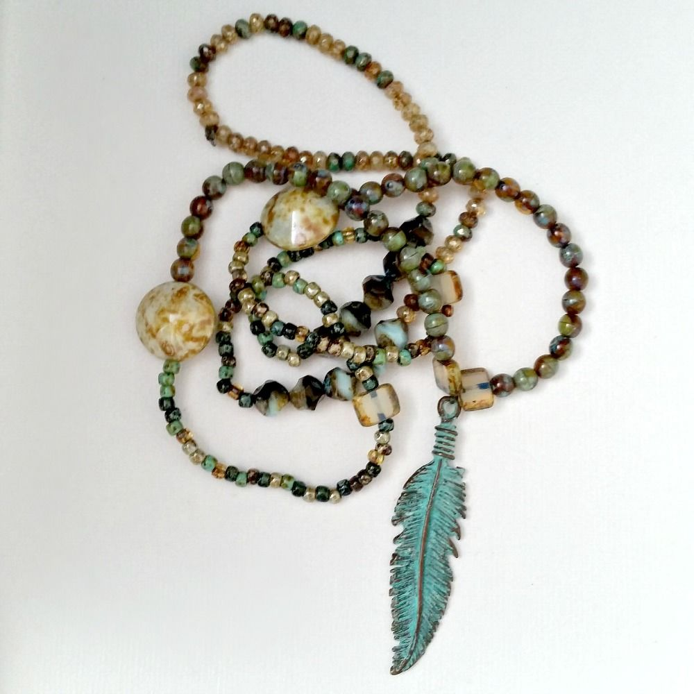 Extra Long Verdigris Blue Feather Beaded Necklace - product images  of