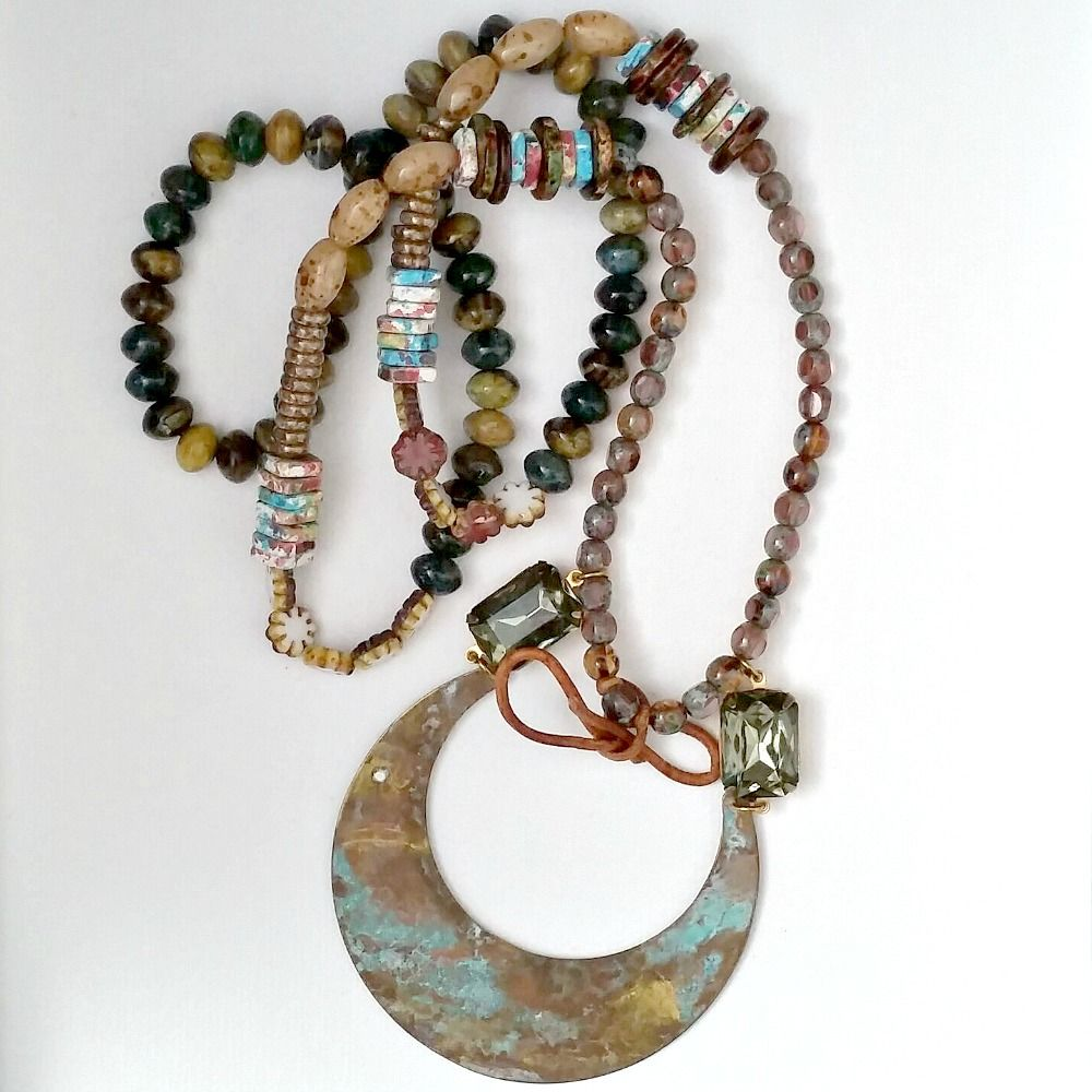 Festive Beaded Patina Necklace - product images  of