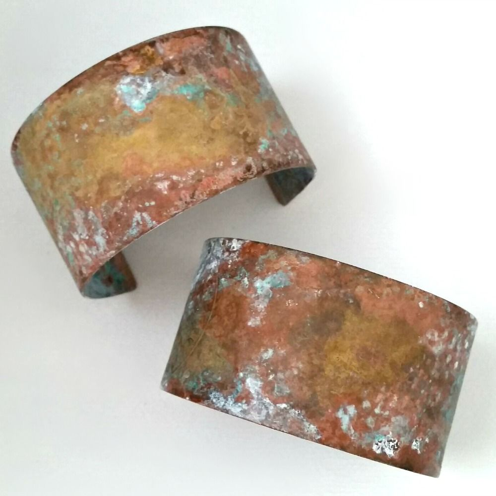 Rustic Patina Brass Cuff Bracelet - Light or Dark - product images  of