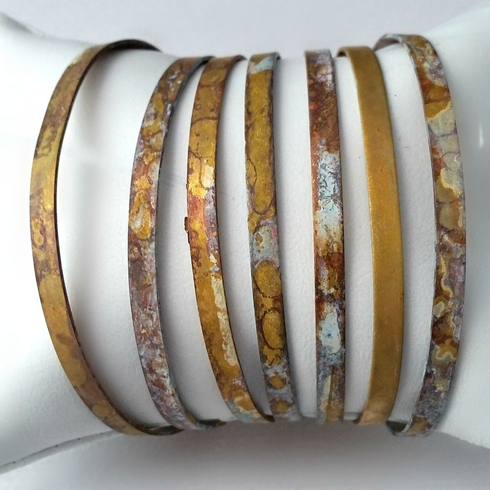 Skinny Stacking Brass Bracelets Cuffs - Modern and Rustic with Patina - product images  of
