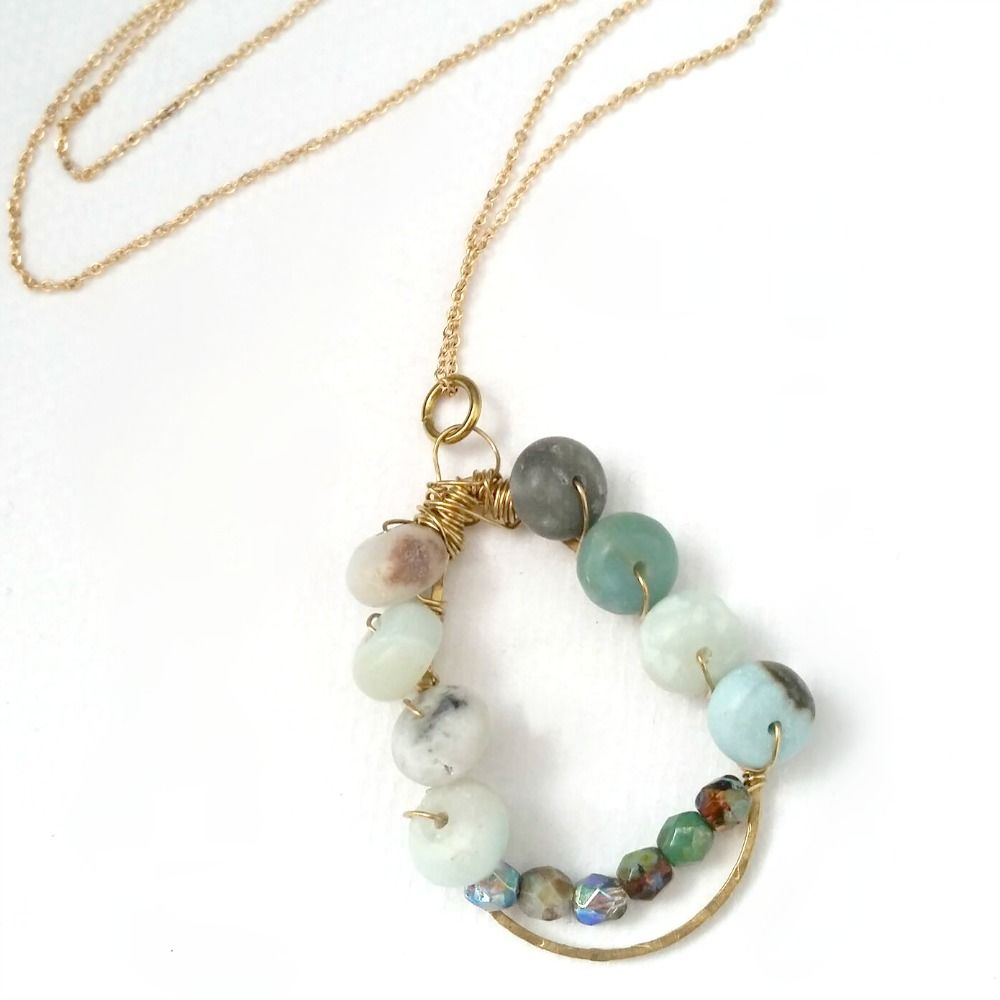 Amazonite Beaded Wire Wrapped Gemstone Pendant on Gold Filled Chain - product images  of
