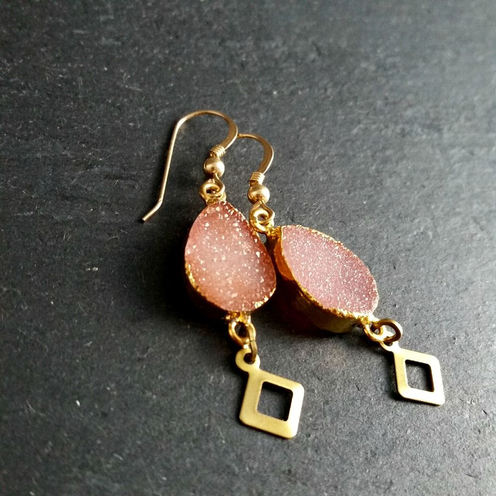 Peach-Pink Druzy Gemstone Earrings - product images  of