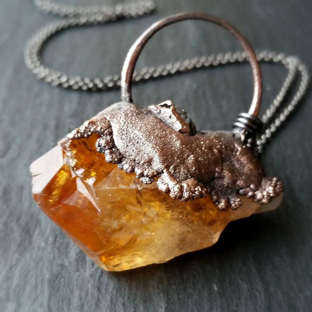 Raw Citrine Crystal Copper Electroformed Pendant Necklace - product images  of