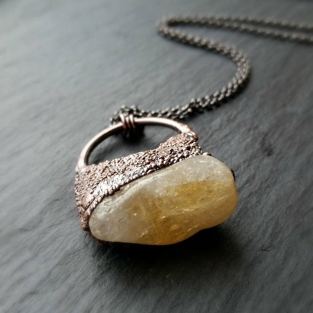 Raw Yellow Citrine Crystal Copper Electroformed Pendant Necklace - product images  of