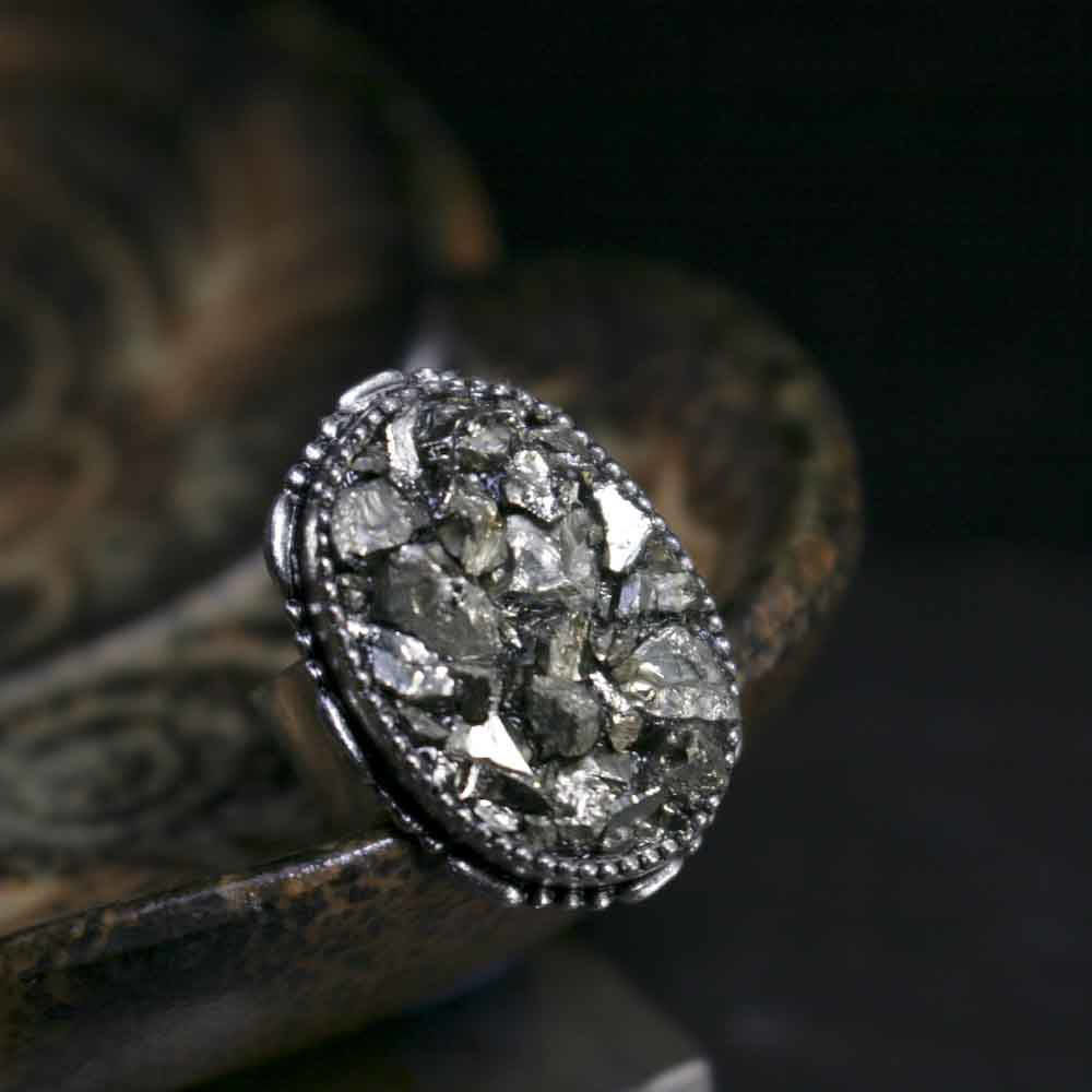 Crushed Pyrite Adjustable Ring - product images  of