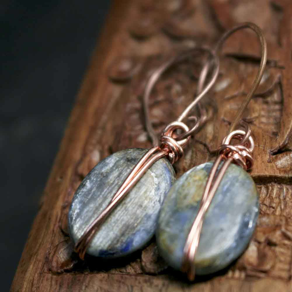 Icy Blue Kyanite Dangle Earrings with Copper Forged Earwires - product images  of