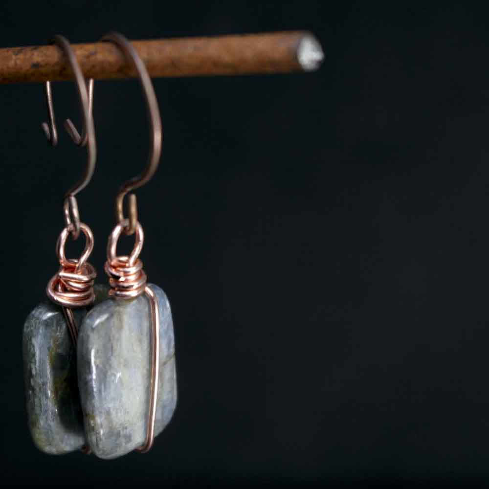 Rectangular Icy Blue Kyanite Dangle Earrings with Copper Forged Earwires - product images  of