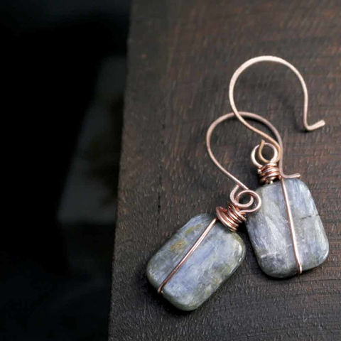Rectangular,Icy,Blue,Kyanite,Dangle,Earrings,with,Copper,Forged,Earwires,kyanite, jewelry, blue jewelry