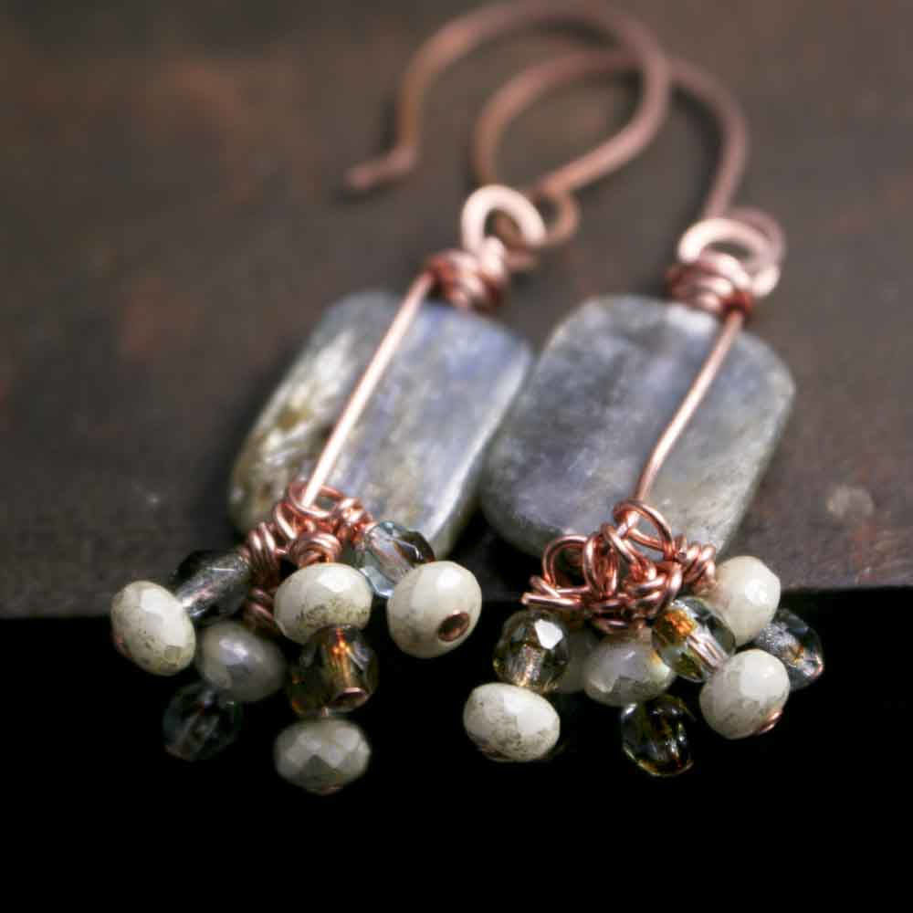 Rectangular Icy Blue Kyanite Dangle Earrings with Copper Forged Earwires and Glass Beads - product images  of