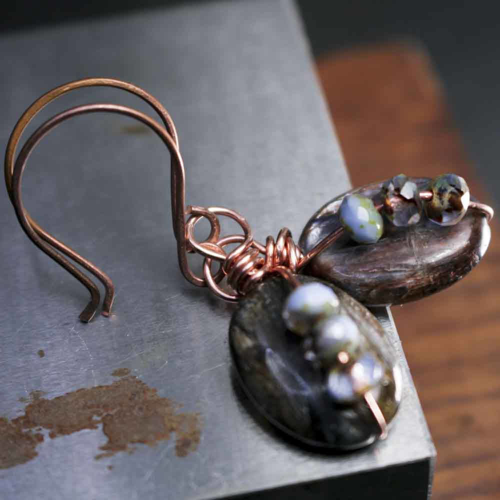 Blue Brown Kyanite Drop Copper Wire Wrapped Earrings  - product images  of