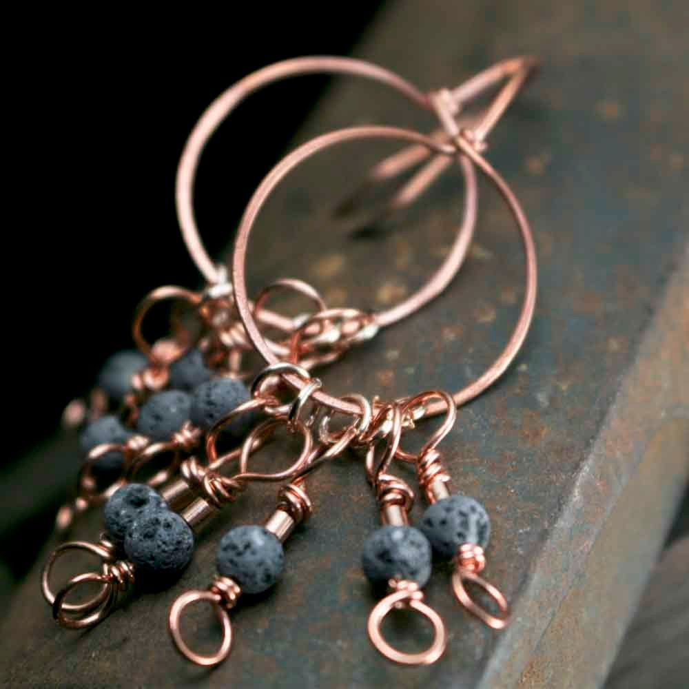 Round Lava Stone Earrings on Copper Wire - product images  of
