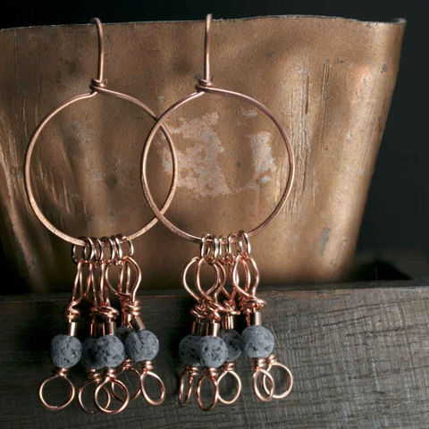 Round,Lava,Stone,Earrings,on,Copper,Wire,lave stone earrings