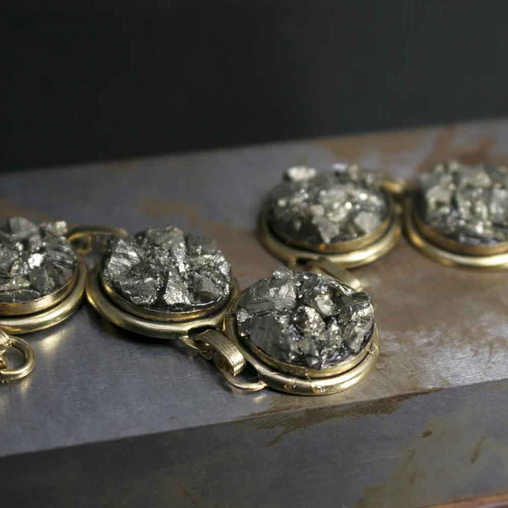 Pyrite Crystal Link Bracelet - product images  of