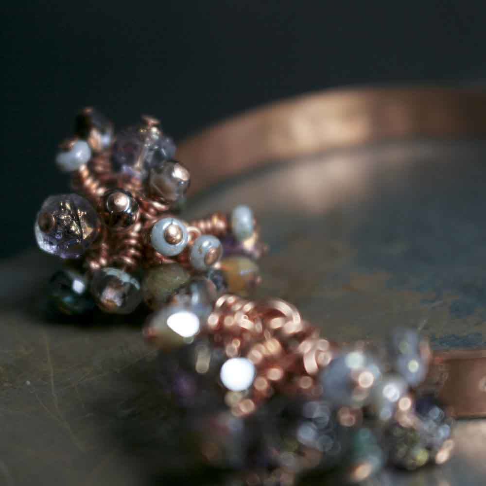 Purple Czech Glass Dangle Open Cuff Copper Bracelet - product images  of