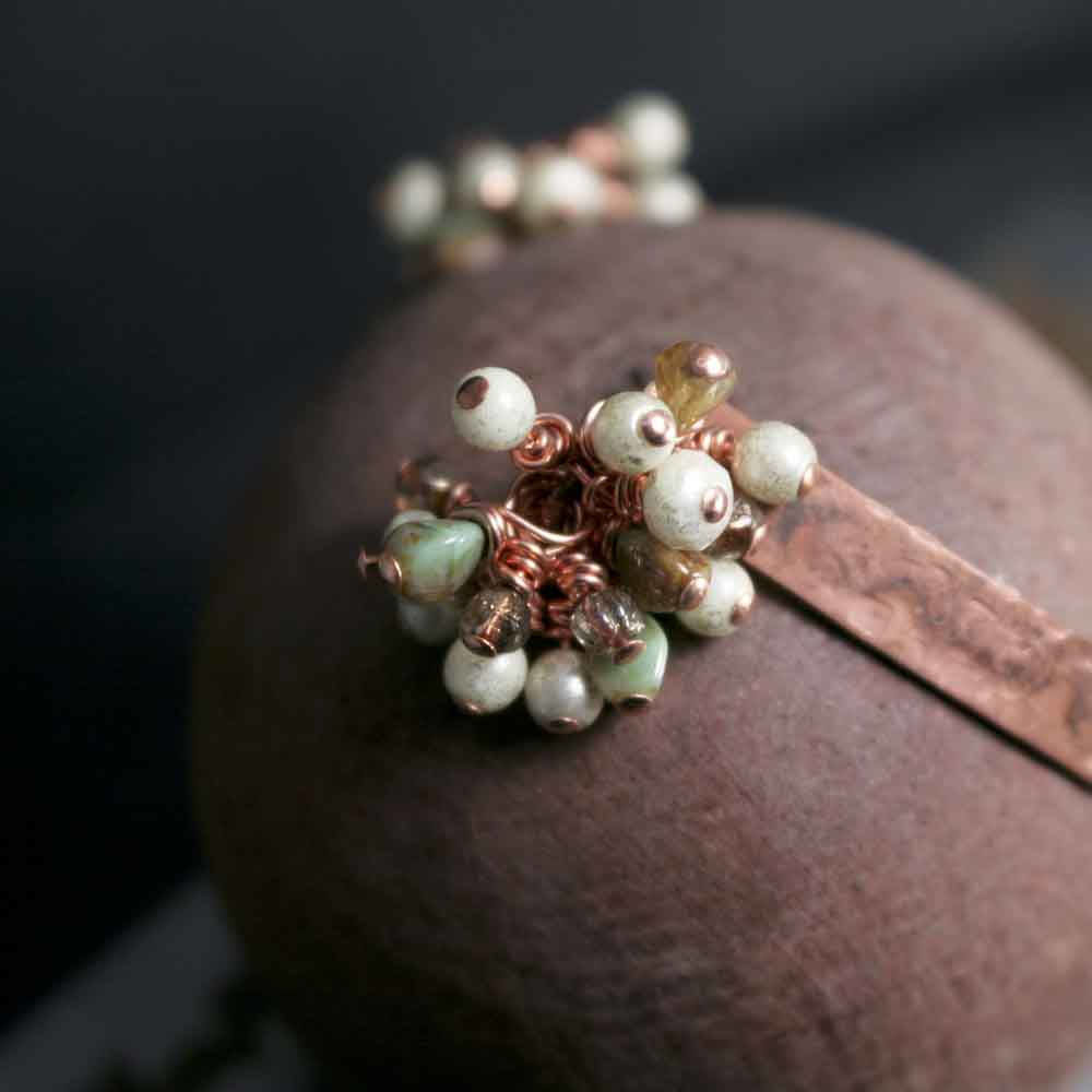 Beaded Czech Glass Dangle Open Cuff Copper Bracelet - product images  of